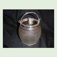 Biscuit Barrel, English Crystal & Silverplate
