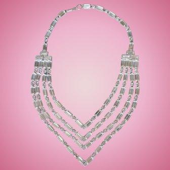Vintage WEISS Four Strand Rhinestone Chevron Necklace