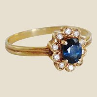 14K Sapphire & Diamond Cluster Ring, Size 7