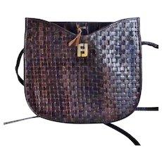 Vintage Fendi Brown Woven Leather Crossbody Bag