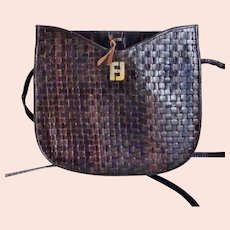 Vintage Fendi Brown Woven Leather Crossbody Bag