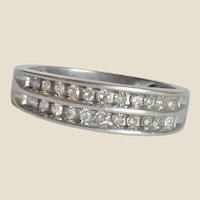 14K White Gold .25 Ct. Diamond Double Row Band Ring Size 7.5
