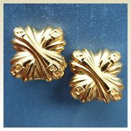 FENDI Gold Plated Monogram Clip-On Earrings