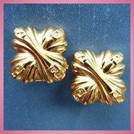 FENDI Gold Plated Monogram Clip-On Earrings