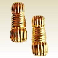 FENDI Gold Plated Fluted Clip-On Earrings