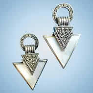 Sterling Marcasite & Mother of Pearl Post Earrings