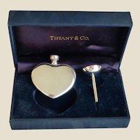 Tiffany & Co. Sterling Heart Perfume Bottle & Funnel in Orig. Box