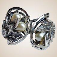 TORTOLANI Vintage Pewter Faux Pearl Clamper Bracelet
