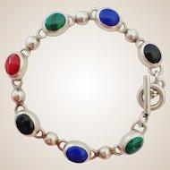 Sterling Multi-Gem Cabochon Toggle Bracelet