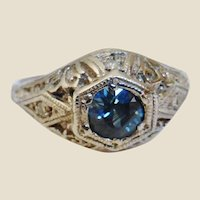Art Deco 14K White Gold Synthetic Sapphire Diamond Ring Size 5-1/2