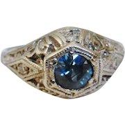 Art Deco 14K White Gold Synthetic Sapphire Diamond Ring Size 5-1/2