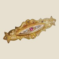 Handcrafted Victorian 9 Ct. Ruby & Diamond Brooch