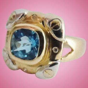 14K Blue Topaz & Diamond Ring, Size 7, NOS