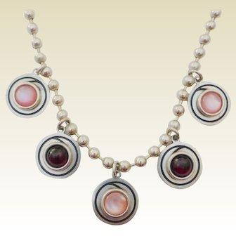 STEVE STAMAS Sterling Rose Quartz & Garnet Cabochon Necklace