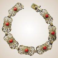 Antique Mediterranean Salmon Coral 835 Gilt Silver Bracelet