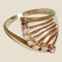 Diamond 14K YG Wave Ring, Size 7