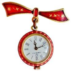 Vintage Working Guilloche Enamel Lapel Watch, Manual Wind