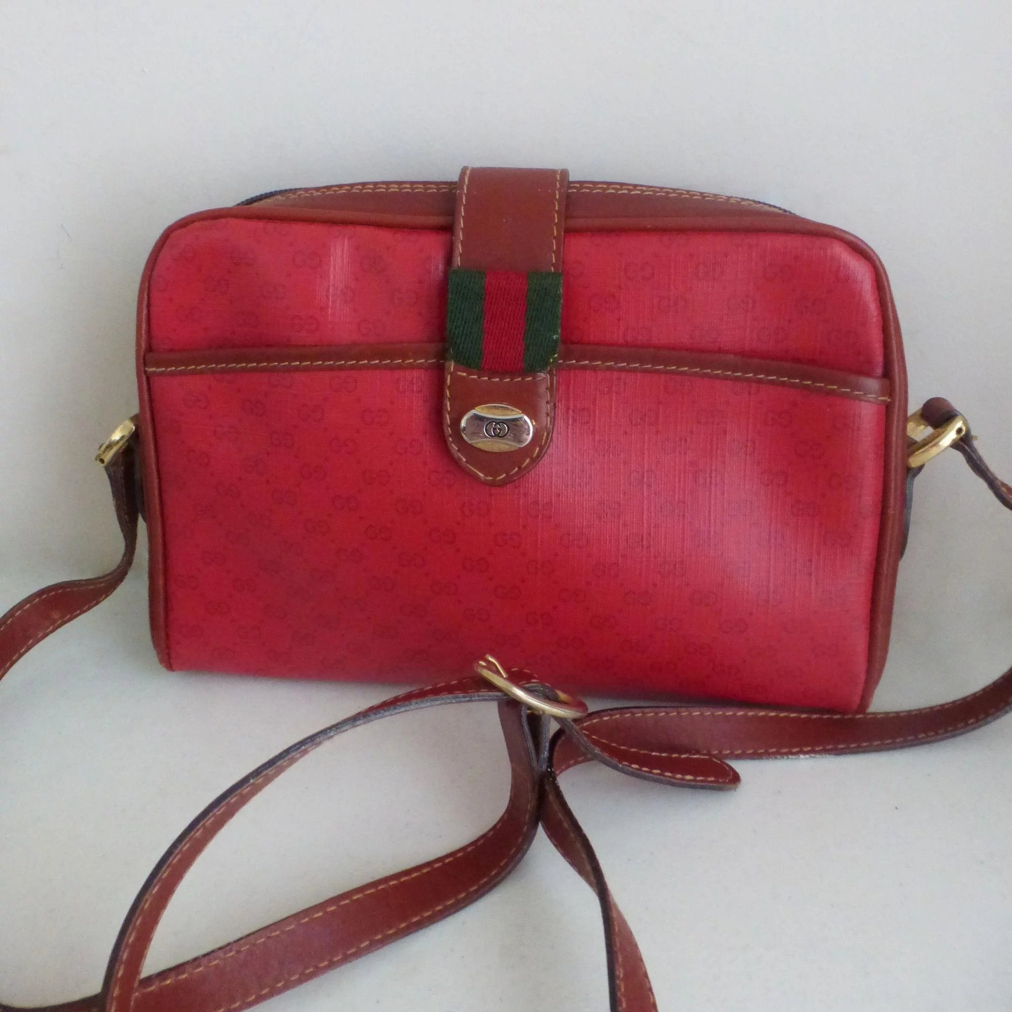 Vintage Red Gucci Accessory Collection Micro Monogram Shoulder Bag Click To Expand