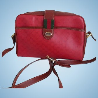 Vintage Red Gucci Accessory Collection Micro-Monogram Shoulder Bag