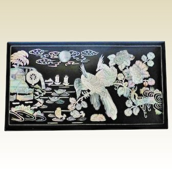 1950's Oriental Inlaid Mother-Of-Pearl Lacquer Cigarette Box