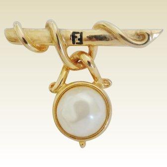 Vintage FENDI Faux Pearl Dangle Brooch