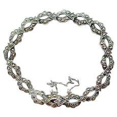 Vintage Sterling Marcasite Open Link Bracelet