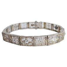 Art Deco Era Sterling Filigree Link Bracelet