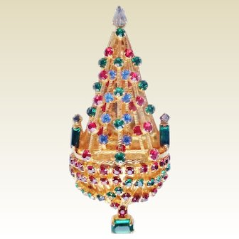 JOSEPH WARNER Vintage Crystal Christmas Tree Brooch