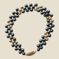Hematite & 14K Yellow Gold Bead Bracelet 7""