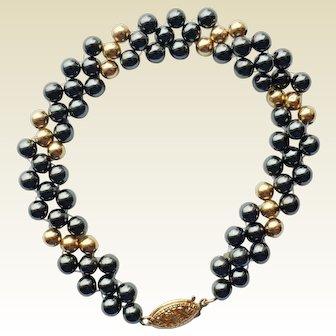 "Hematite & 14K Yellow Gold Bead Bracelet 7"""