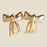 14K Yellow Gold Figural Bow Earrings