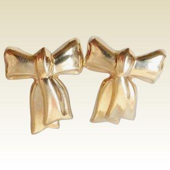 14K Yellow Gold Figural Bow Earrings