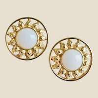 FENDI Large 18K Gold Plated Milk Glass Sunflower Earrings