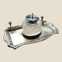 Roberts & Belk Silver Plate Cut Glass Ink Stand Circa 1864-1893