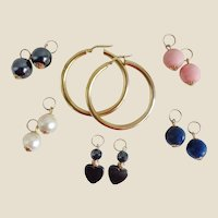 14K YG Hoop Earrings w/ 5 Sets Of Semi-Precious Earring Charms