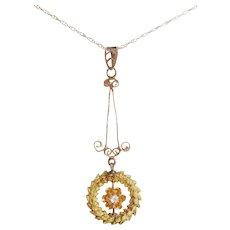Victorian 10Kt Mine Diamond & Pearl Lavalier Necklace