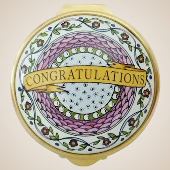 Staffordshire Enamels Hand Painted 'Congratulations'  Box