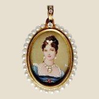 18K Cultured Pearl & Diamond Hand Painted Portrait Pendant