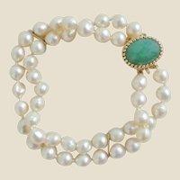 14K Double Strand Semi-Baroque Pearl Jade Clasp Bracelet