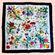 """GUCCI 100% Cotton 18"""" Square Flora Scarf"""