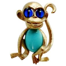 Signed Crown Trifari Jelly Belly Monkey Brooch