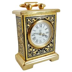 Miniature Brass Damascene Carriage Clock