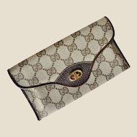 Vintage GUCCI Brown Monogram Clutch Wallet