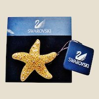NOS Swarovski Starfish Brooch on Original Card
