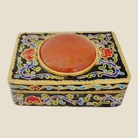 Chinese Export Cloisonne Box w/ Large Carnelian Cabochon