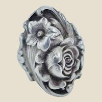 S. Kirk & Son Sterling Repousse Floral Ring Size 5