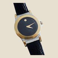Vintage Movado Ladies Black Museum Dial Quartz Wristwatch