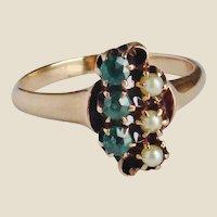 Late Victorian Era 12Kt Rose Cut Emerald & Pearl Ring Size 6.75