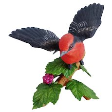 Lenox Porcelain 'Vermilion Flycatcher' Bird Figurine
