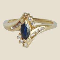 10K Marquis Sapphire & Diamond Ring Size 5